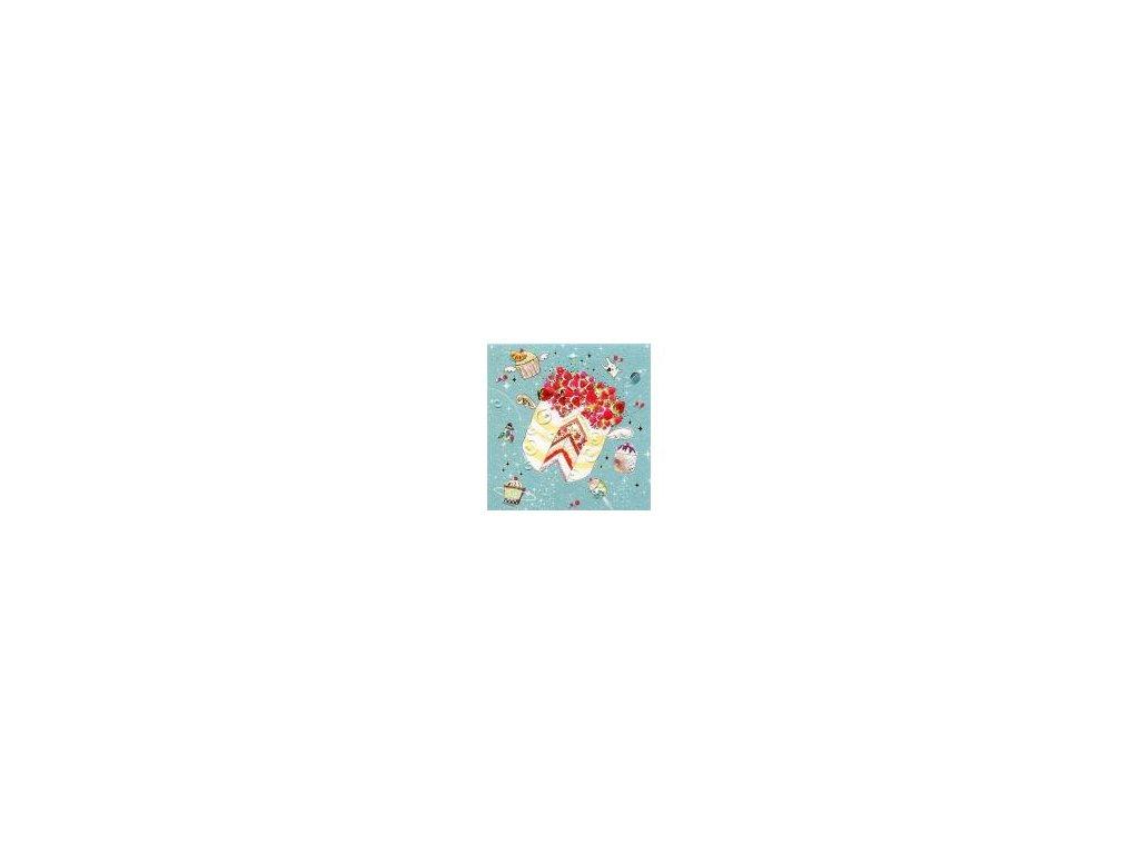 Luxusní malé přání s obálkou, Dort 7,8 x7,8 cm