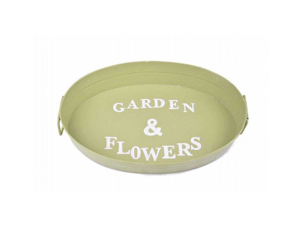 Plechový podnos zelený Garden a Flowers