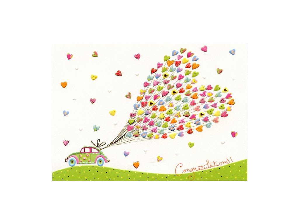 Svatební - auto se srdcem 16,7 x 11,8 cm