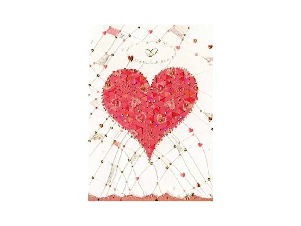 Svatební - srdce a prsteny 16,7 x 11,8 cm