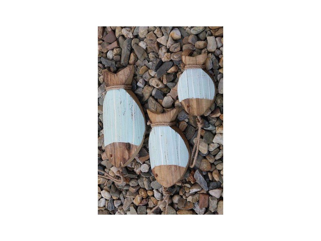 Rybka dřevěná závěsná mint- prostřední