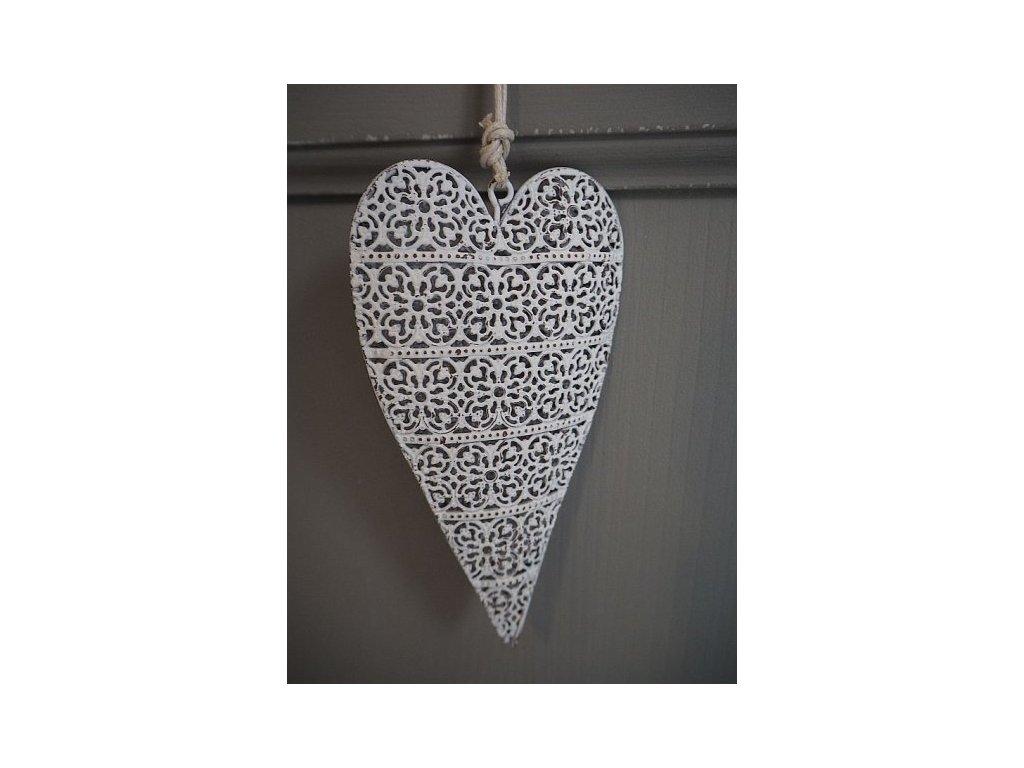 Srdce bílé kovové zdobené
