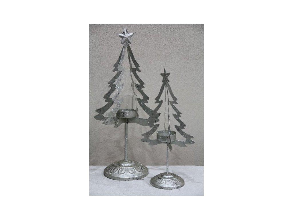 Stromek stříbrný svícen vykrajovaný- malý