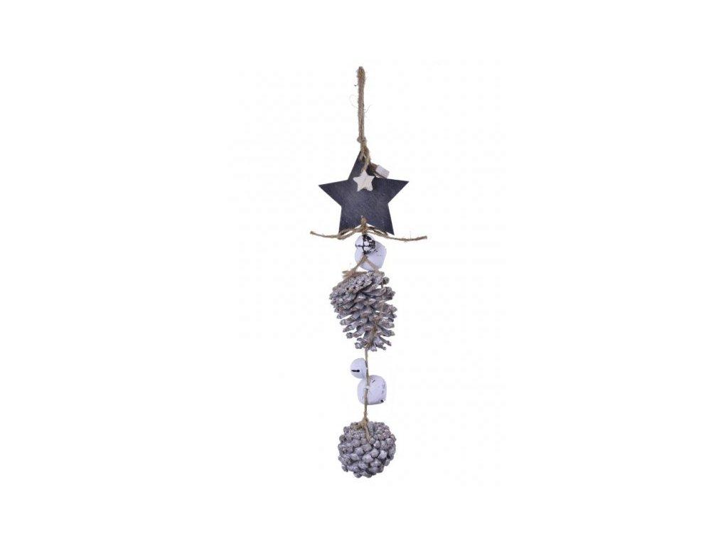 Závěs hvězda + šišky větší