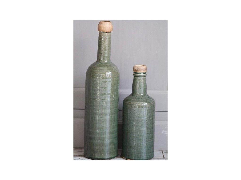 Zelená lahev váza keramická větší