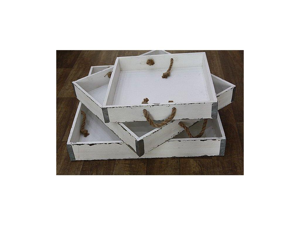 Podnos dřevěný bílý velký čtverec- střední