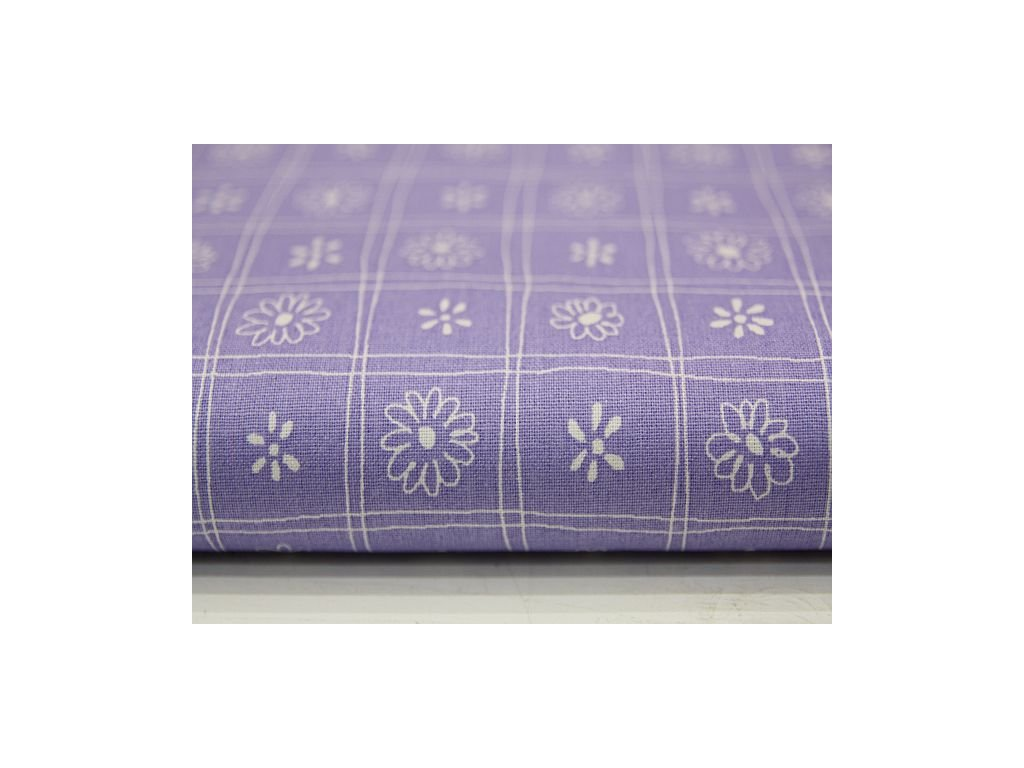 Metráž fialová kytička v kostce