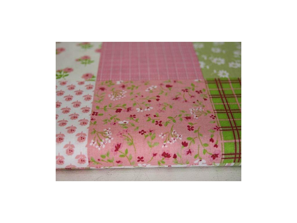 Metráž růžovo- zelený patchwork 1,70m