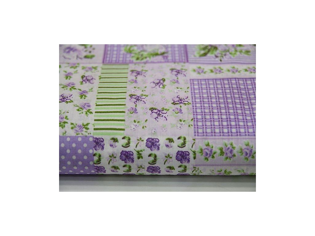 Metráž fialový patchwork 12,5m