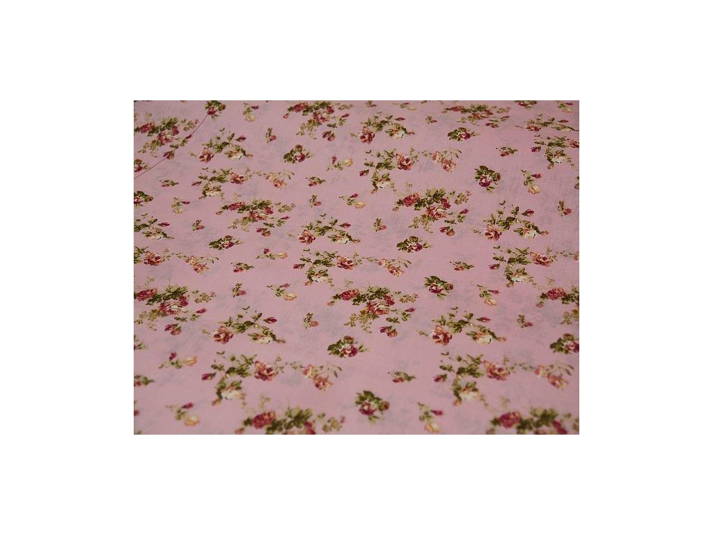 Metráž růžičky na růžové 5,10m