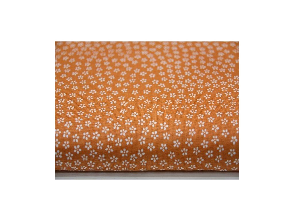 Metráž bílá kytička na oranžovém podkladu 6.30m