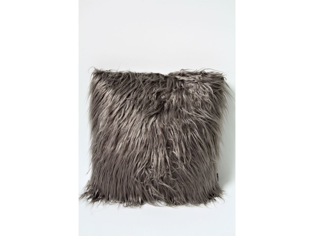 Polštář dlouhý chlup šedý 45x45cm