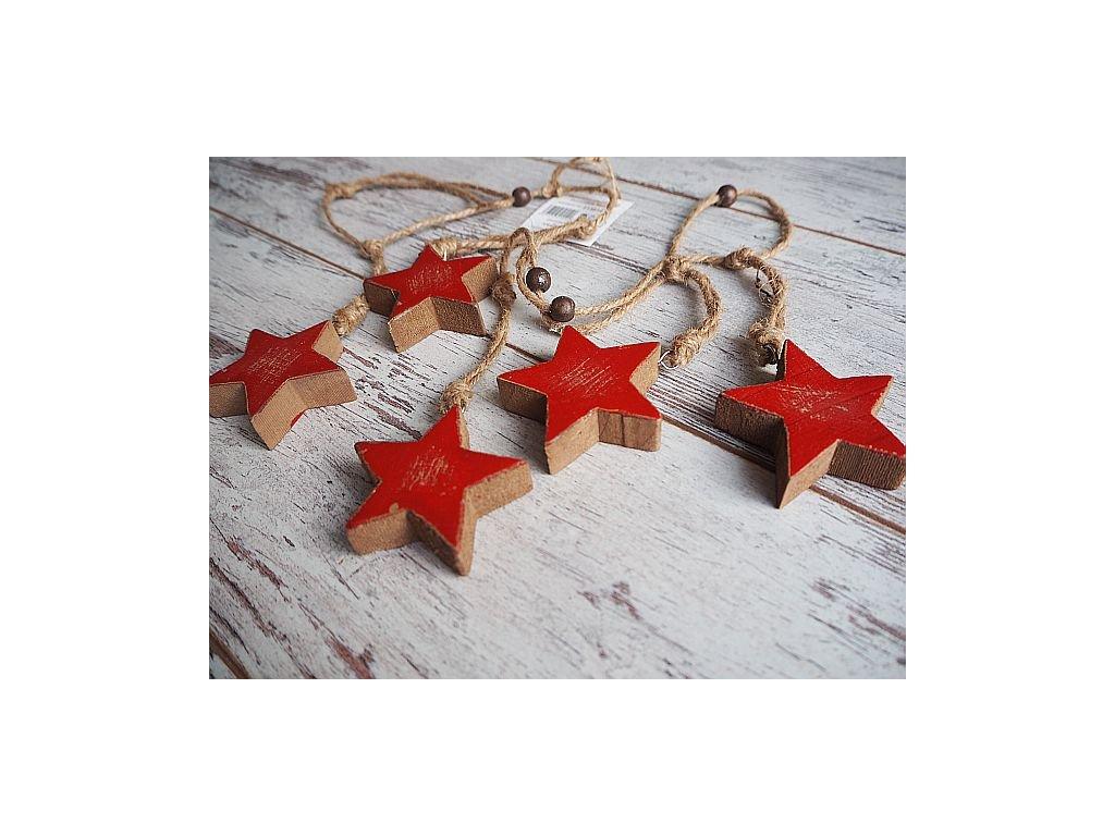 Girlanda hvězdy červené dřevo