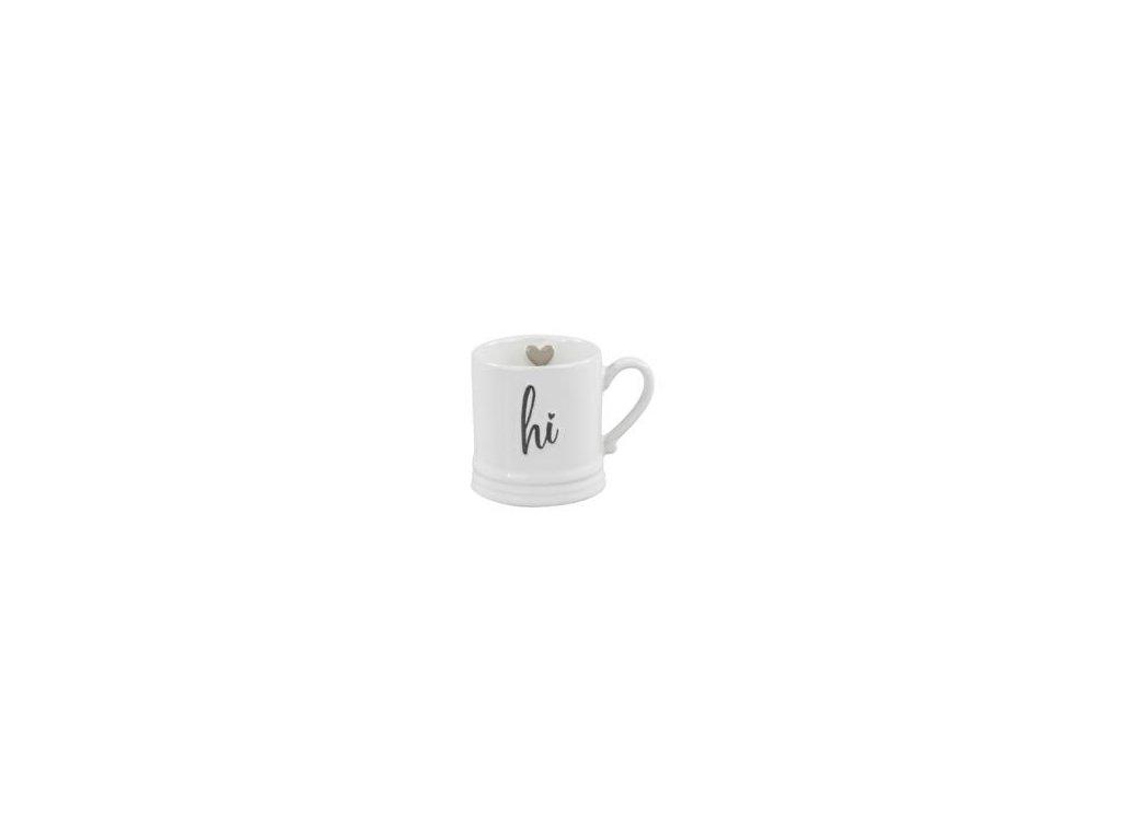 Hrnek malý, bílý, černý nápis HI a šedé srdce 240g, 7,5x7cm