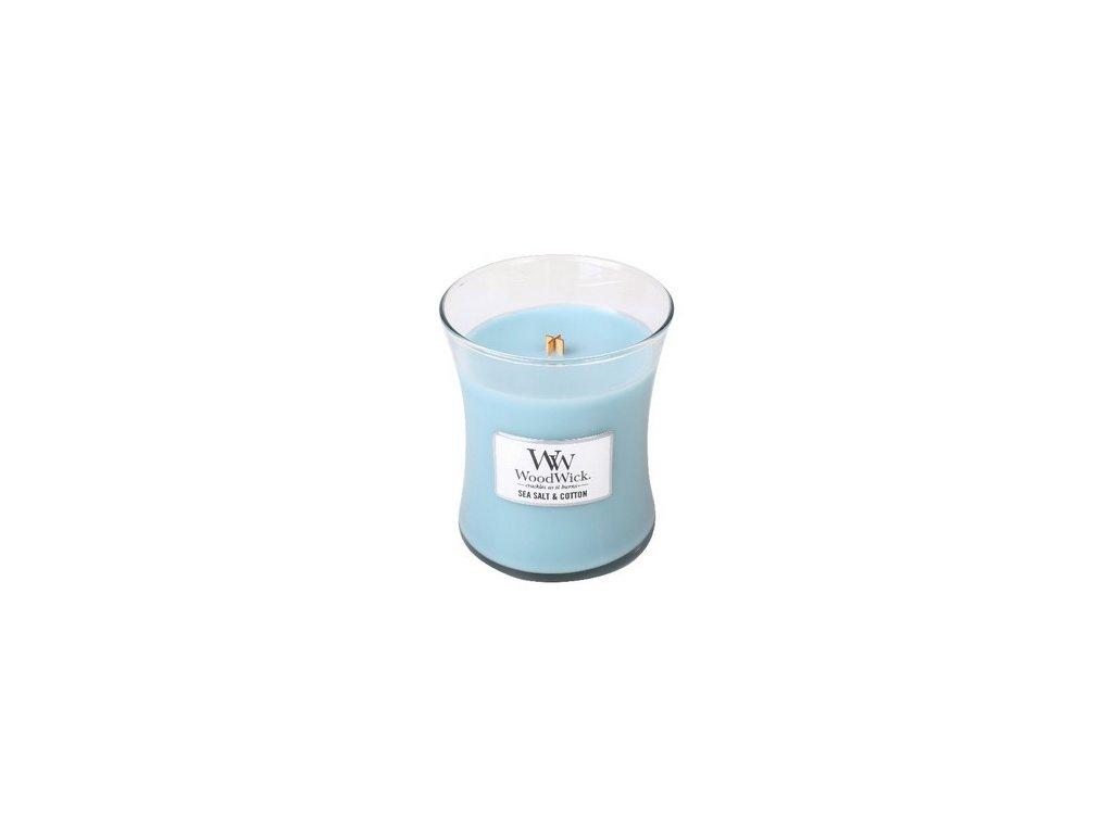 WoodWick Sea Salt & Cotton sklo střední