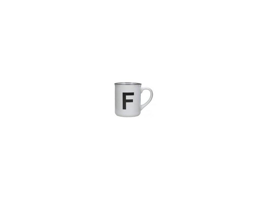 Hrnek s písmenem F