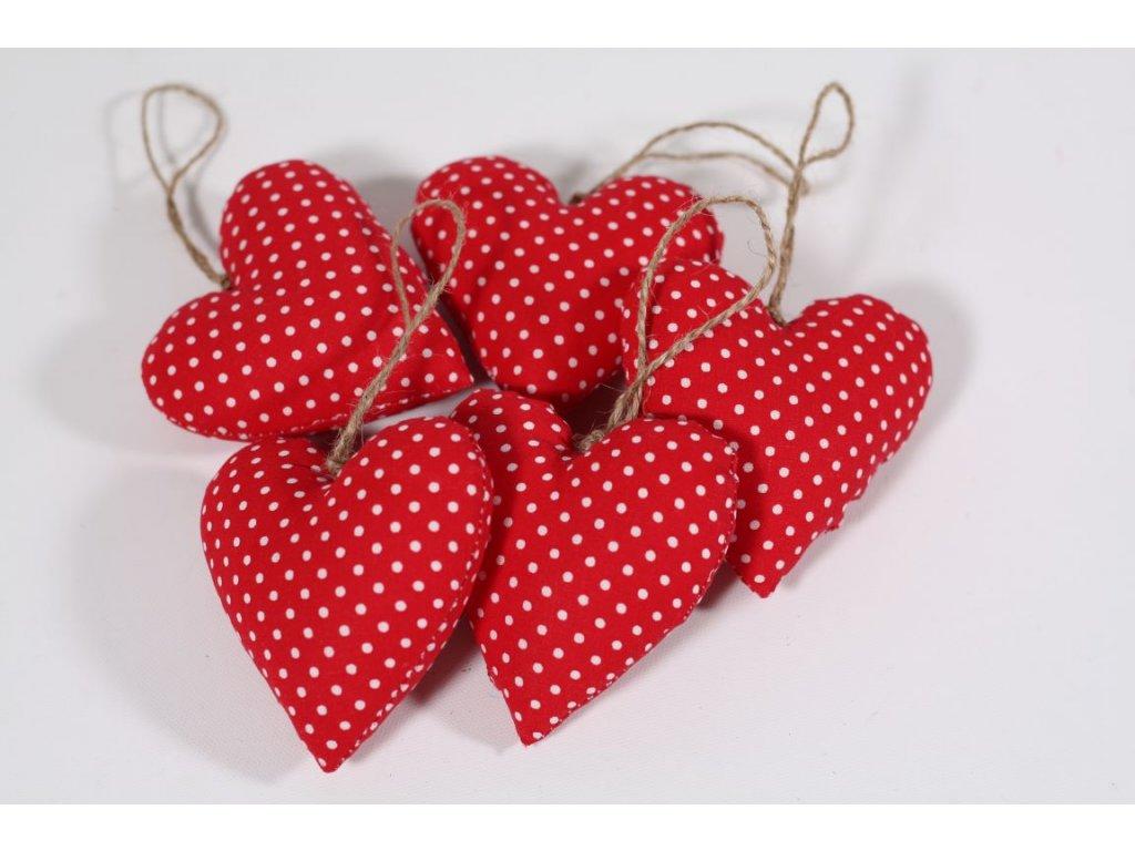 Srdíčko ručně šité červený puntíček