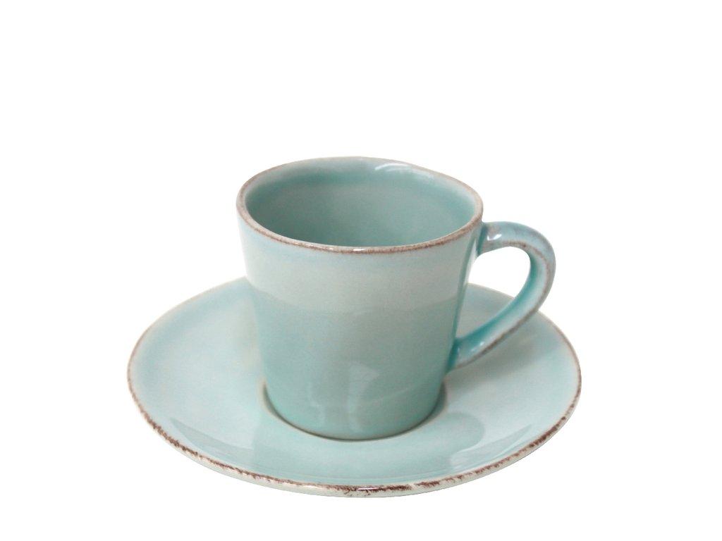 Hrnek na kávu s talířkem 0,07L, NOVA, tyrkysová