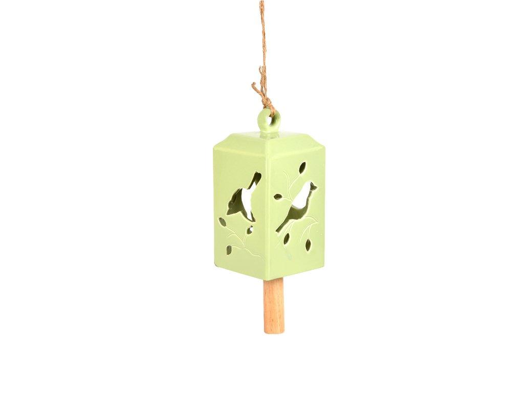 zvonek keramický zelený