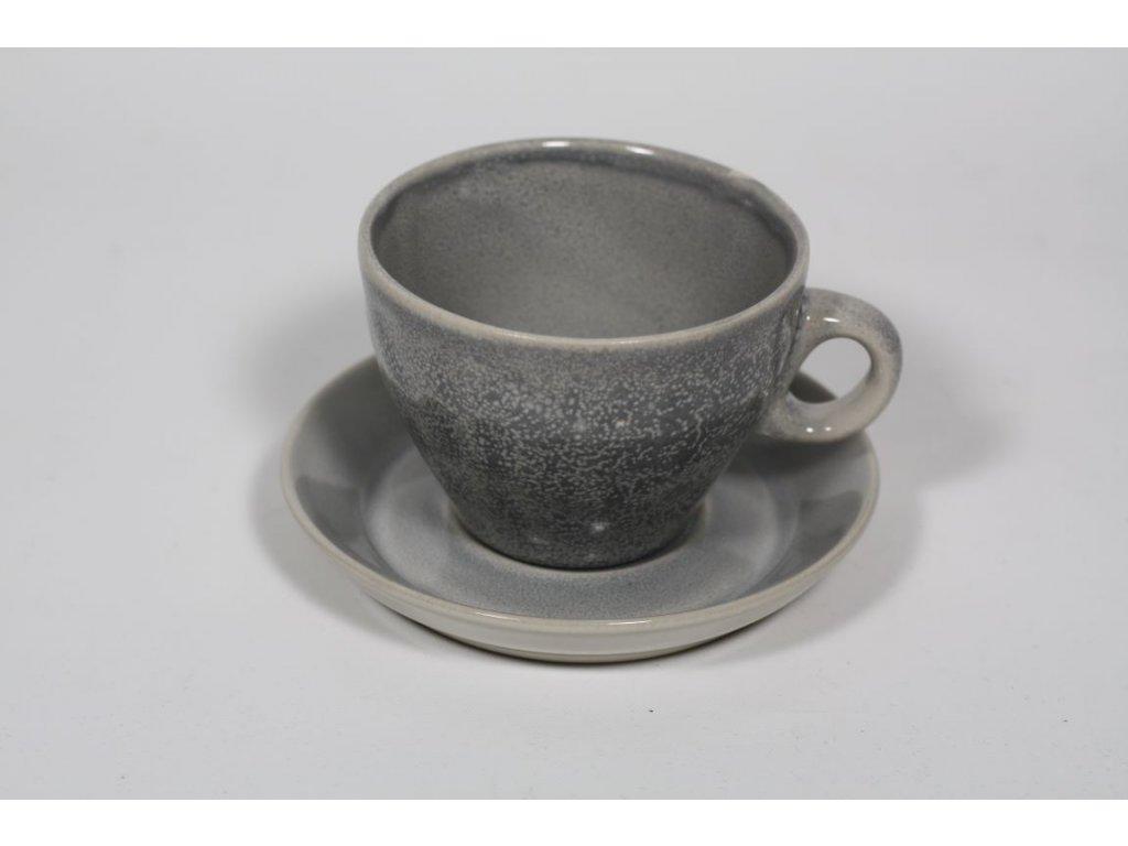 hrnek s talířkem šedý