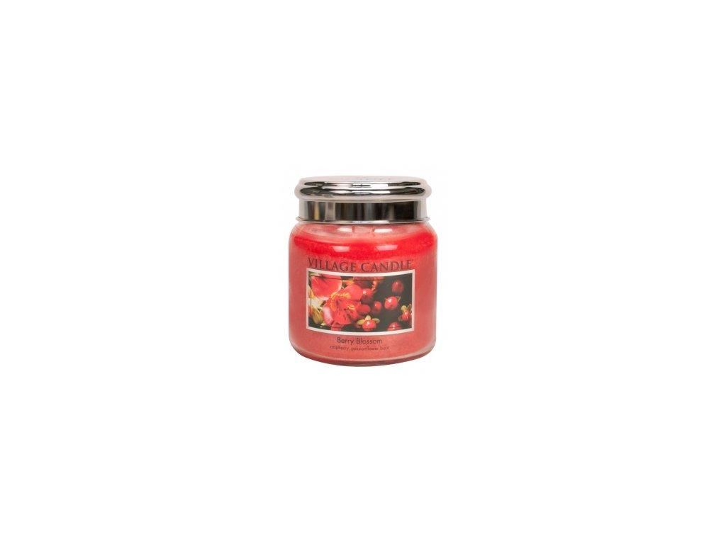 village candle červené květy střední
