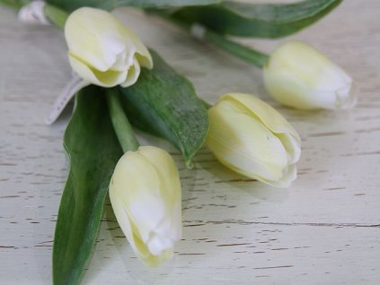 Tulipán umělý - světlý- bílý