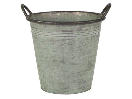 plechový kýbl šedý menší