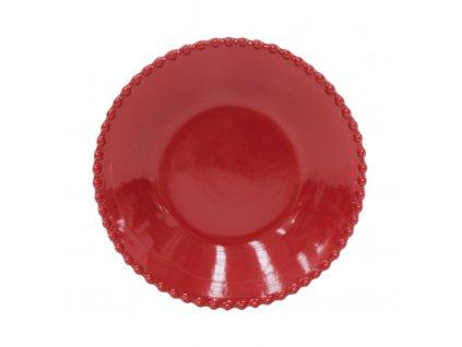 talíř polévkový červený costa nova