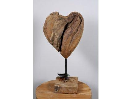 srdce na podstavci teakové dřevo