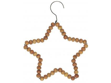 hvězda dřevěná z korálků