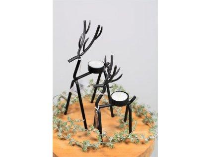 svícen kovový černý jelen