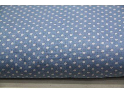 Metráž puntík modrý světlý zašlý 7,30m