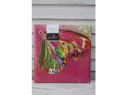 Notes růžový motýl 16,5cm Turnowsky