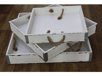 Podnos dřevěný bílý velký čtverec- malý
