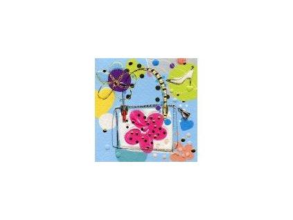 Luxusní malé přání s obálkou, Kabelka s květinou 7,8 x7,8 cm
