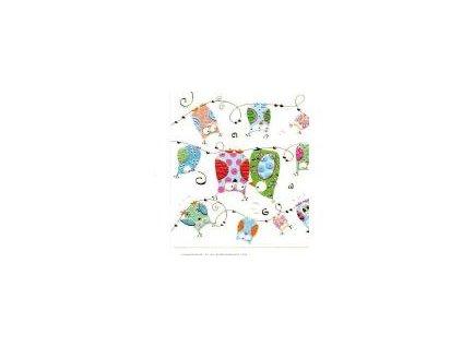 Luxusní malé přání s obálkou, Sovy na větvi 7,8 x7,8 cm