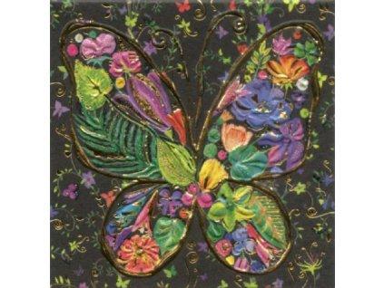 Přání malé motýl 7,8x 7,8cm