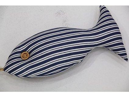 Ryba ručně šitá velká modrý pruh 2.