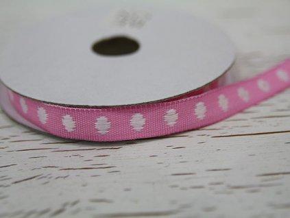 Stuha bílý puntík na růžové- tkaná