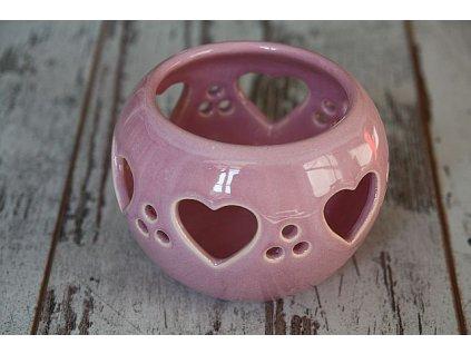 Svícínek růžový srdíčka