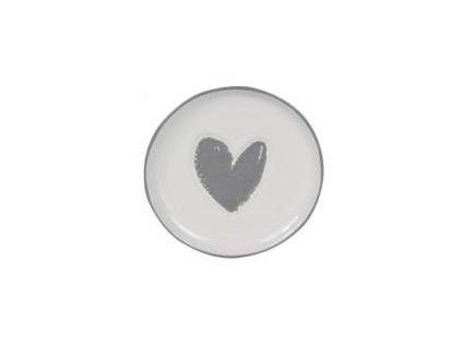 Talířek na čajový sáček, šedé srdce, 9cm