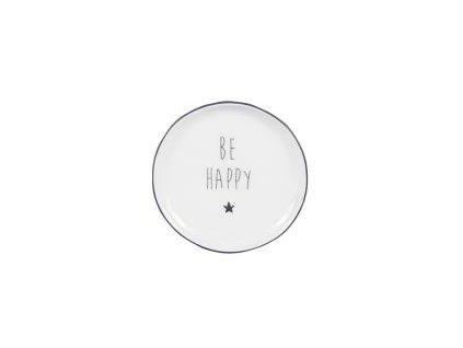 Talířek na čajový sáček, keramika, 9cm, bílý, černý lem, hvězda a nápis Be Happy