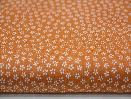 Metráž bílá kytička na oranžovém podkladu