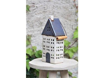 Domeček keramický šedý 4