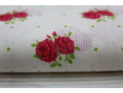 Metráž růžička na bílé