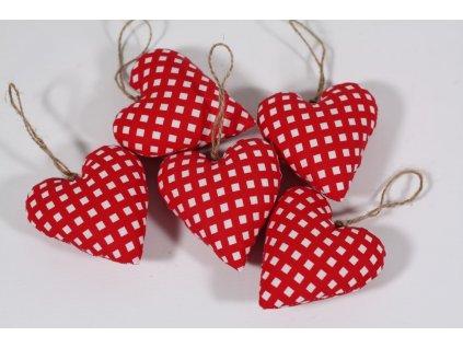 Srdíčko ručně šité červená kostička