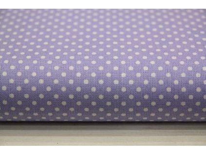 Metráž puntík 3mm na fialové 2m