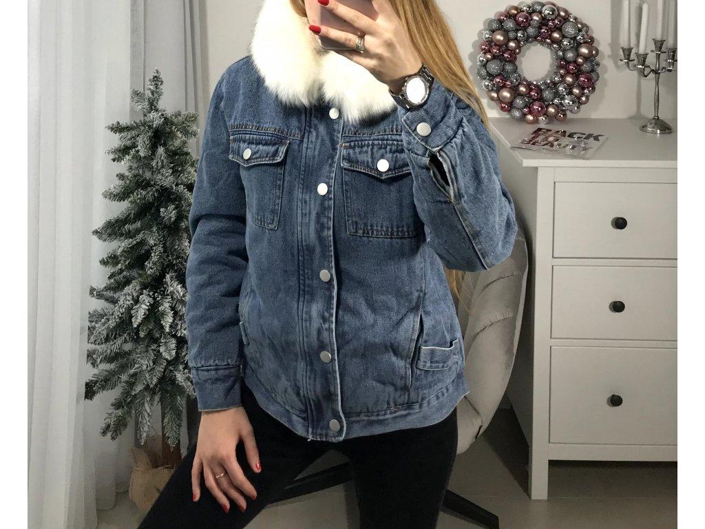 Džínová bunda Aless s bílým kožíškem