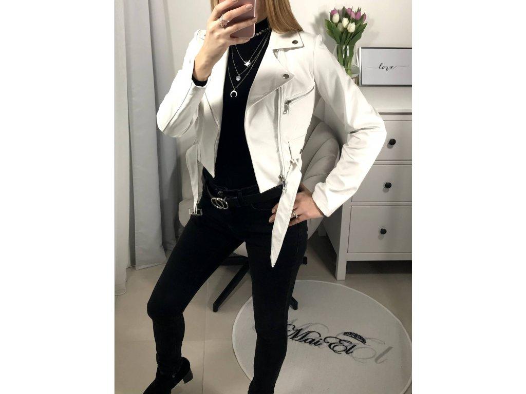 Koženková bílá bunda