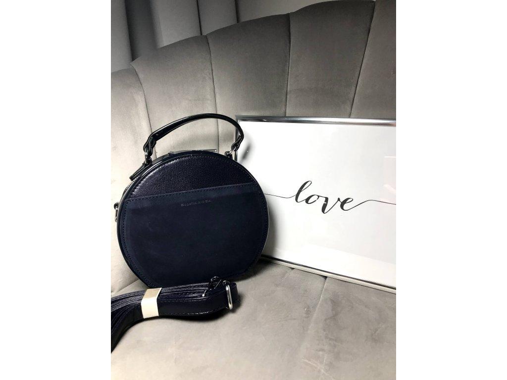 Kulatá kabelka tmavě modrá